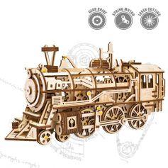 ROBOTIME Mechanical Gears 3D Puzzle Movement Assembled Wooden Locomotive