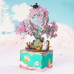 ROBOTIME DIY Music Box Cherry Blossom Tree